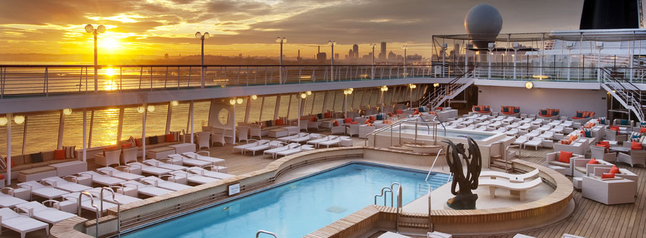 Sunset on Crystal Symphony's pool deck