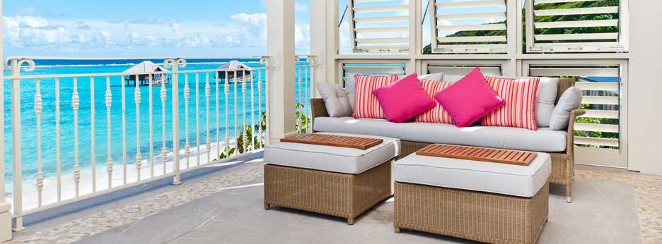 Pink Sands Club one bedroom penthouse beachfront view - courtesy of Carrier