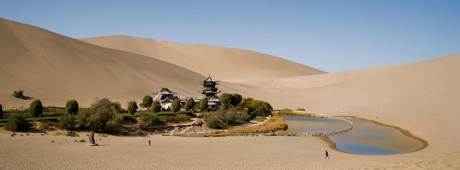 Crescent Lake, Dunhuang, Gansu province, Western China, Golden Eagle Luxury Trains