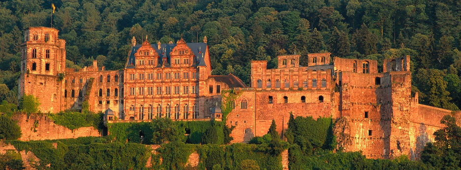 Heidelberg castle in the evening sun - courtesy of Rail Discoveries