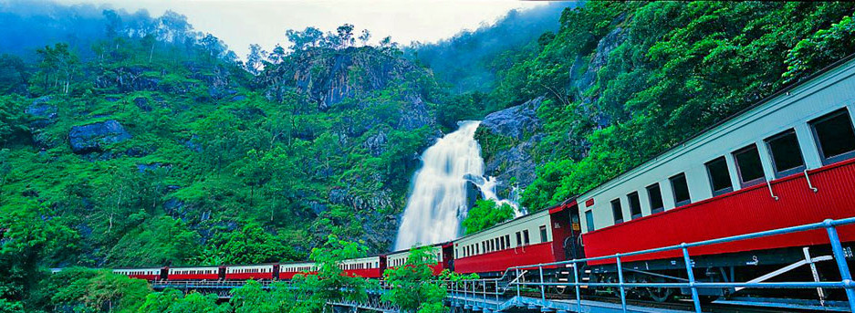 Kuranda Scenic Railway passing Stoney Creek Falls Australia - courtesy of Great Rail Journeys