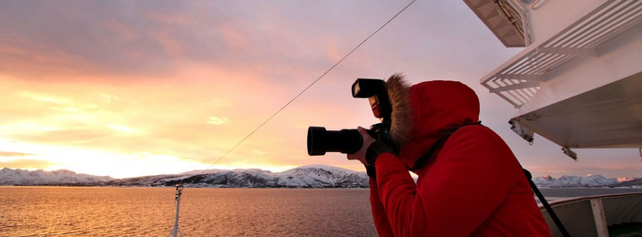 Stunning views at sunset from Hurtigruten