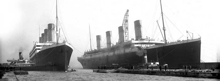 The Titanic (right) and Olympic (left) in dock in Belfast, 1912